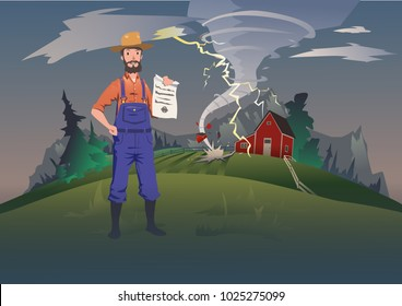 Farmer's insurance concept, vector illustration. Tornado on the farm. A calm farmer standing and holding the insurance policy in his hand. Home and household hurricane insurance.
