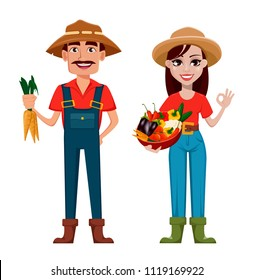 Farmers, man and woman, cartoon characters, set. Beautiful lady gardener with basket full of vegetables and handsome gardener with carrots. Vector illustration.