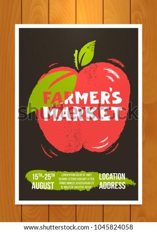 farmers market advertisement poster template vector stock vector