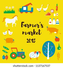 Farmer's market background with animals, food, tractors, retro style. Vector graphic illustration