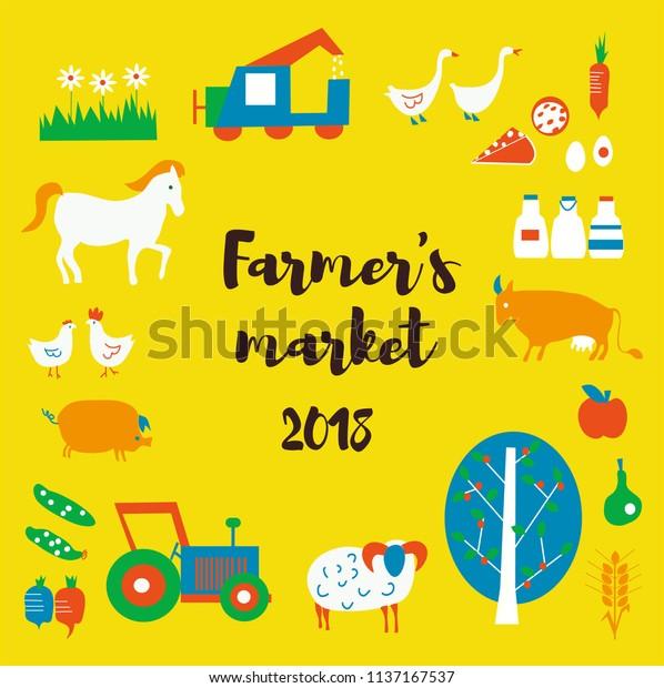 Farmers Market Background Animals Food Tractors Stock Vector