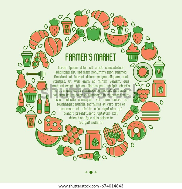 Farmers Market Concept Circle Thin Line Stock Vector