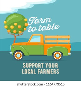 Farmers market concept. Retro truck. Vintage transport. Vector illustration