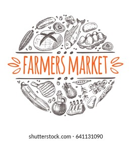 Farmers market concept with vegetables. Locally grown. Round circle composition. Hand drawn vector illustration. Can be used for farmers market, poster, banner, sticker, logo, label and other design.