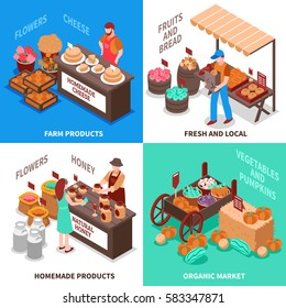 Farmers market design concept with four isometric square trade fair compositions with fresh homemade farm products vector illustration