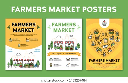 Farmers market design poster set. Vector local farm event backgrounds with place for text. City food festival illustrations with organic products. Line healthy fruit and vegetable shop banner template