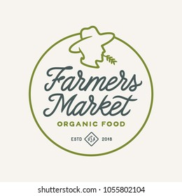 Farmers market emblem label badge. Food shop sign. Farmer head mascot logotype template. Organic food slogan. Vector vintage illustration.