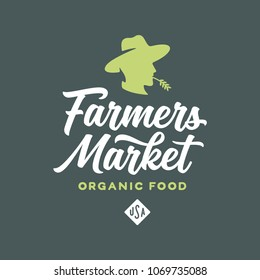 Farmers market emblem label badge. Food shop sign. Farmer head mascot logotype template. Organic food slogan. Vector vintage illustration.