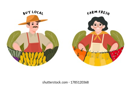 Farmer's Market flat design vector illustration. Set farmers standing at counter of greengrocer's shop or marketplace selling autumn fruits and vegetables. Support local farmers concept