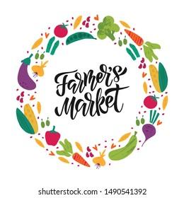 Farmers Market flat vector banner template. Decorative vegetables doodle sketch with hand lettering. Celebrating harvest gathering fest, festival poster, postcard design element