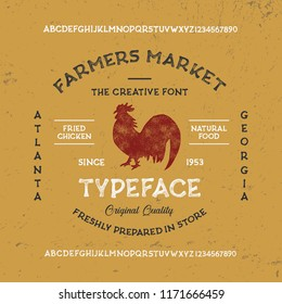 Farmers Market font. Original handmade alphabet. Vintage font design and poster. Custom typeface. Clean & Textured Versions Included. Vector.