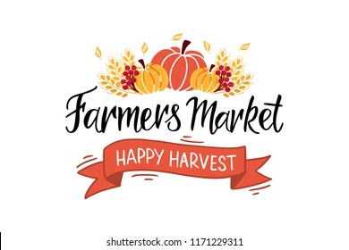 Farmers market - hand lettering typography. Design for poster, flyer, invitation, postcard, banner. Fall party template. Vector illustration.