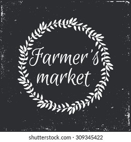 Farmer's market hand-sketched herbal vector frame (template). Useful for ads, signboards, packaging, menu design, interior decorating and other design.