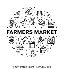 Farmers market icon design set. Vector agriculture logo collection in circle form. Organic farming pictogram illustration in line style. Eco, bio, natural signs for food shop, healthy fresh products