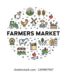 Farmers market icon design set. Organic farming pictogram illustration in line style. Vector agriculture logo collection in circle form. Eco, bio, natural signs for food shop, healthy fresh products