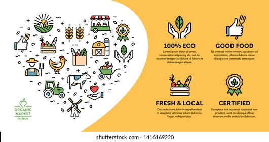 Farmers market icon illustration. Vector local farm banner with place for text. Agriculture background design. Eco, natural, certified logo signs for organic farming, food shop, healthy fresh products