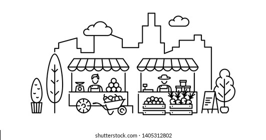 Farmers market illustration. Vector fruit and vegetable shop banner template. Line greengrocer store business with organic eco bio products. Local farm food stand background.