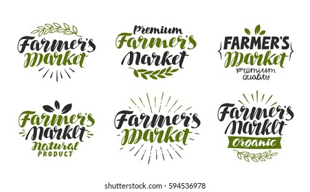 Farmer's market, label. Farm, agriculture, natural or organic product symbol. Lettering, calligraphy vector illustration