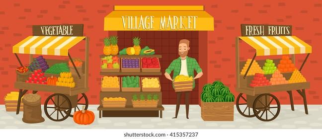 Farmers market. Local farmer shopkeeper. Seller fresh vegetables.