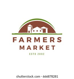 Farmers market logo template vector illustration. Farmer logotype or badge design. Trendy retro style farm barn silhouette.