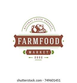 Farmers market logo template vector illustration. Farmer logotype or badge design. Trendy retro style farm natural organic products food silhouette.