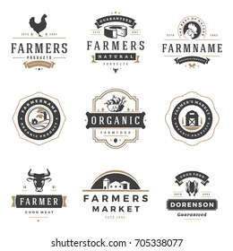 Farmers market logos templates vector objects set. Logotypes or badges design. Trendy retro style illustration, farm natural organic products food, rooster, cow head and barn silhouettes.