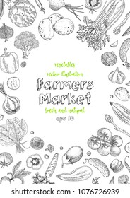 Farmers market menu design template. Vegetarian vintage background with natural organic products. Organic detailed vegetables food poster. Engraved style. Great for menu, banner, label, logo, flyer