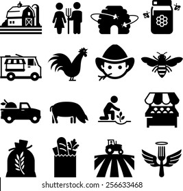 Farmer's market and other agricultural icons