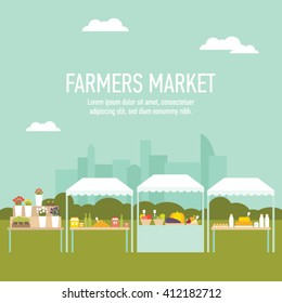 Farmers market produce stands with cityscape background vector illustration