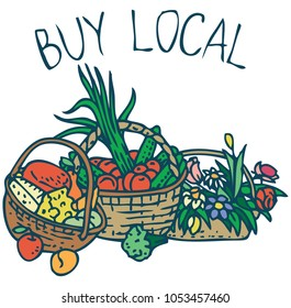 Farmers Market Purchases. Wicker Baskets with Vegetables, Fruits, Cheese and Flowers on a White Background. Buy Local
