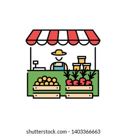 Farmers market stall icon template. Vector line fruit and vegetable shop symbol illustration. Local farm food stand logo background with farmer. Greengrocer store business with organic eco products