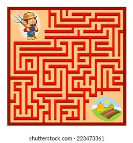 Farmer's Maze Game (help the farmer to find his farm - Maze vector puzzle)