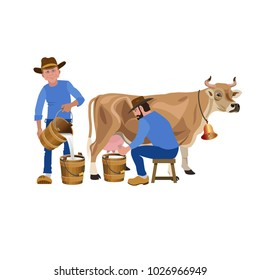 Farmers milking a cow. Vector illustration