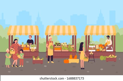 Farmers organic market in modern city street flat vector illustration concept. People sell own growth green natural eco products, fruits and vegetables. Seasonal sale local farm shop.