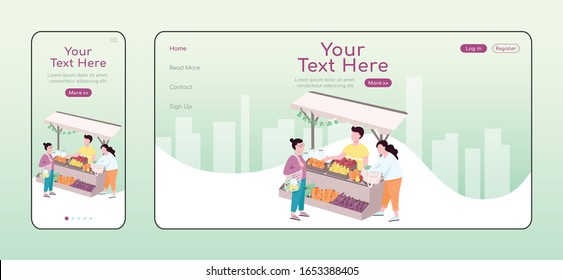 Farmers outdoor street market adaptive landing page flat color vector template. Buying natural and organic food mobile and PC homepage layout, one page website UI. Webpage cross platform design