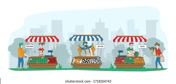 Farmers Sell Fresh Fruits, Vegetables and Fishery Products to Customers at Outdoors Farm City Market. Purchaser Characters Buying Ecological Healthy Organic Food. Linear People Vector Illustration