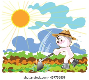 Farmers using hoes to planting vegetables  in afternoon cartoon cute acting design