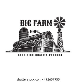 Farmer's windmill and barn retro style vintage label