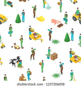 Farmers at Work 3d Seamless Pattern Background on a White Isometric View Include of Watering, Cultivation, Dig, Collect and Planting. Vector illustration