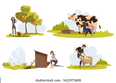 Farmers at work flat vector characters set. Female gardener harvesting apples. Male, female workers milking cow, feeding chickens. Young shearer cutting wool from lamb. Green agricultural production