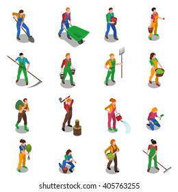 Farmers at work with scythe fork rake and shovel isometric figures icons collection abstract isolated vector illustration
