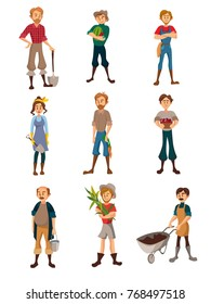 Farmers at work set, gardeners with different agricultural tools, farmer harvesting crop, agriculture farming concept cartoon vector Illustration