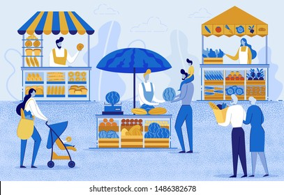 Farmers Working at Farm And Selling on Natural Organic Product Market Flat Cartoon Vector Illustration. Farmer Shopkeeper. Clients Buying Fresh Vegetables, Fruits. Old Couple Hold Bag with Food.