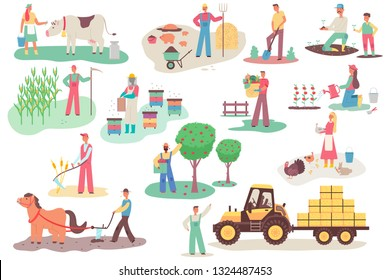 Farmers working on the farm. Men and women vector cartoon flat characters set in different actions isolated on white background. Agriculture illustration.