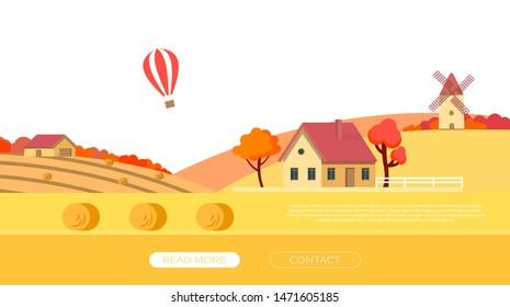 Farmhouse with a mill and harvested wheat in warm autumn tones. Rural autumn landscape. Design elements for infographic, websites, mobile apps etc