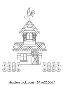 Farmhouse vector cartoon. Barn vector cartoon colorless for coloring book.