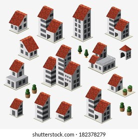 Farmhouses set isolated on background