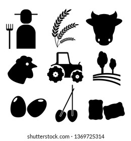 Farming and Agriculture, black on a white background, signs, vector