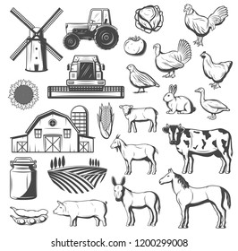 Farming, agriculture and cattle icons. Vector tractor, windmill or grain barn and arable field, farm animals cow and horse, pig and chicken, turkey, duck and goose, tomato and potato veggies