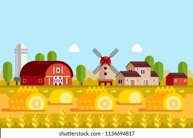 Farming and agriculture concept. Vector flat illustration of wheat fields, mill, village houses. Rural farmland landscape background.